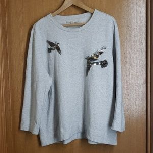 Hthr Gray Loft Beaded Sequin Bird Sweatshirt XL